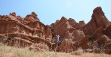 Red fairy chimneys lure tourists in eastern Turkey