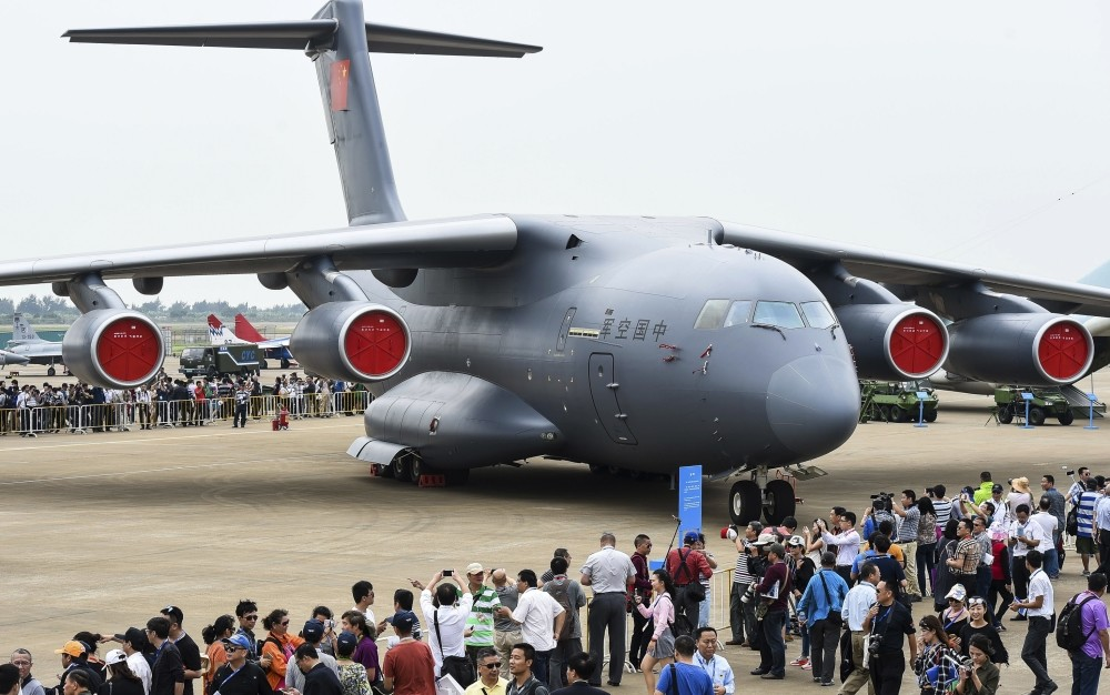 A Chinese Y-20 heavy strategic transport aircraft is displayed at China's International Aviation and Aerospace Exhibition in Zhuhai.