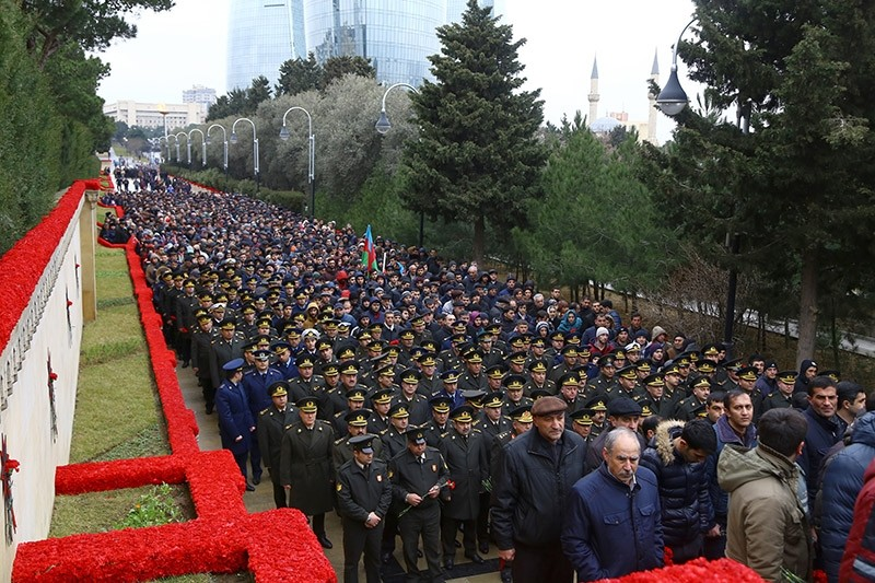 Memorial procession for the victims of Black January massacre, carried out by Soviet army in 1990, which left over 130 dead. Jan. 20, 2017. (AA Photo)