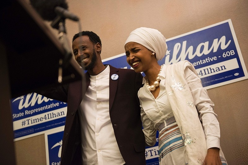 Ilhan Omar, candidate for State Representative for District 60B in Minnesota, with her husband Ahmed Hirisi, arrives for her victort party on election night, November 8, 2016 in Minneapolis, Minnesota. (AFP Photo)