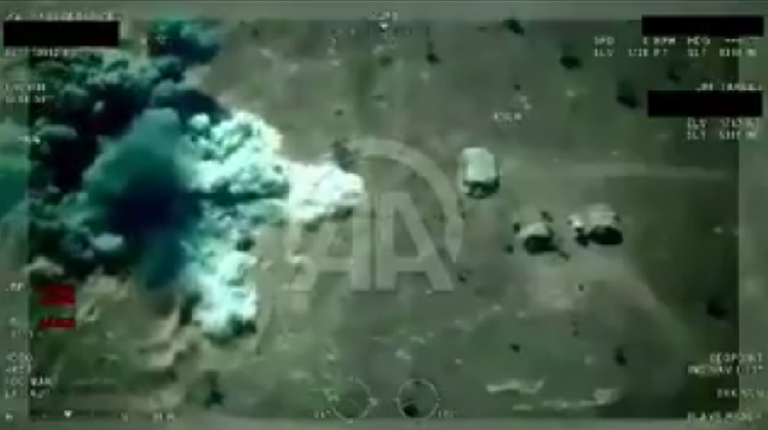 Video record showing the moments that Turkish drone ,Bayraktar, hit the Daesh targets on northern Syria. (Video by Anadolu Agencies)