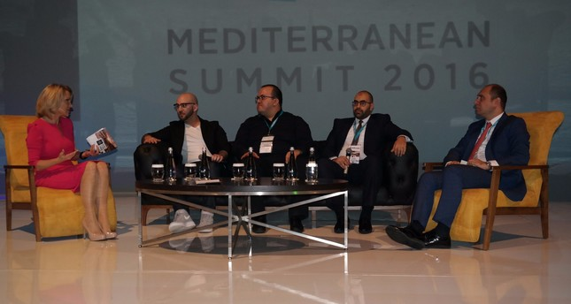 "K. Madera (L) of BBC World News moderates the ""Multi-Channel Usage of Tourism"" session in which W. Isbrucker (Booking), E. Çelik (Head of Sales Facebook), B. Badr (Attar Travel), & A. İşbulan (Gen. Manager TAV Op. Serv.) speak (from left to right)."