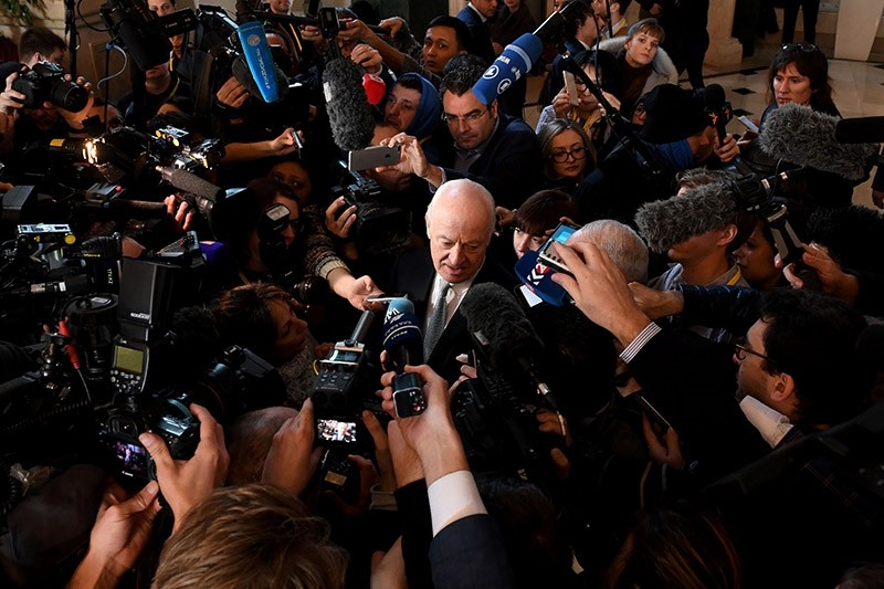 UN envoy for Syria Staffan de Mistura speaks to the media during the second day of Syria peace talks at Astana's Rixos President Hotel on January 24, 2017 (AFP Photo)