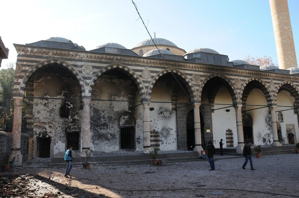 Fatih Pau015fa Mosque, also known as Kuru015funlu mosque for its lead-covered dome, is among the places of worship damaged in the PKK attacks.