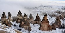 Snow blankets lure tourists in Cappadocia, Turkey