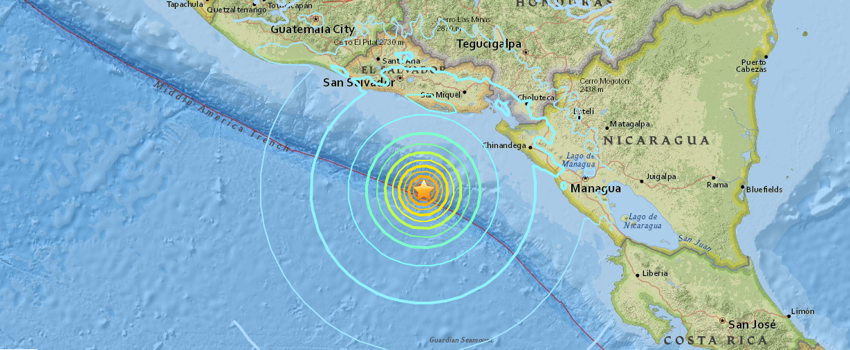 USGS map shows the epicenter of the 7.2 magnitude earthquake which striked off the coast of Nicaragua and El Salvador.