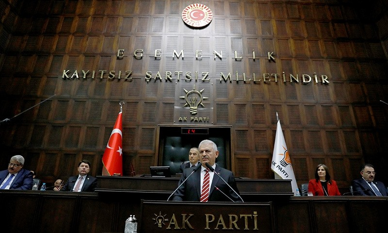 Prime Minister Binali Yu0131ldu0131ru0131m addresses members of parliament from his ruling AK Party (AKP) during a meeting at the Turkish parliament in Ankara, Turkey, November 8, 2016 (Reuters Photo