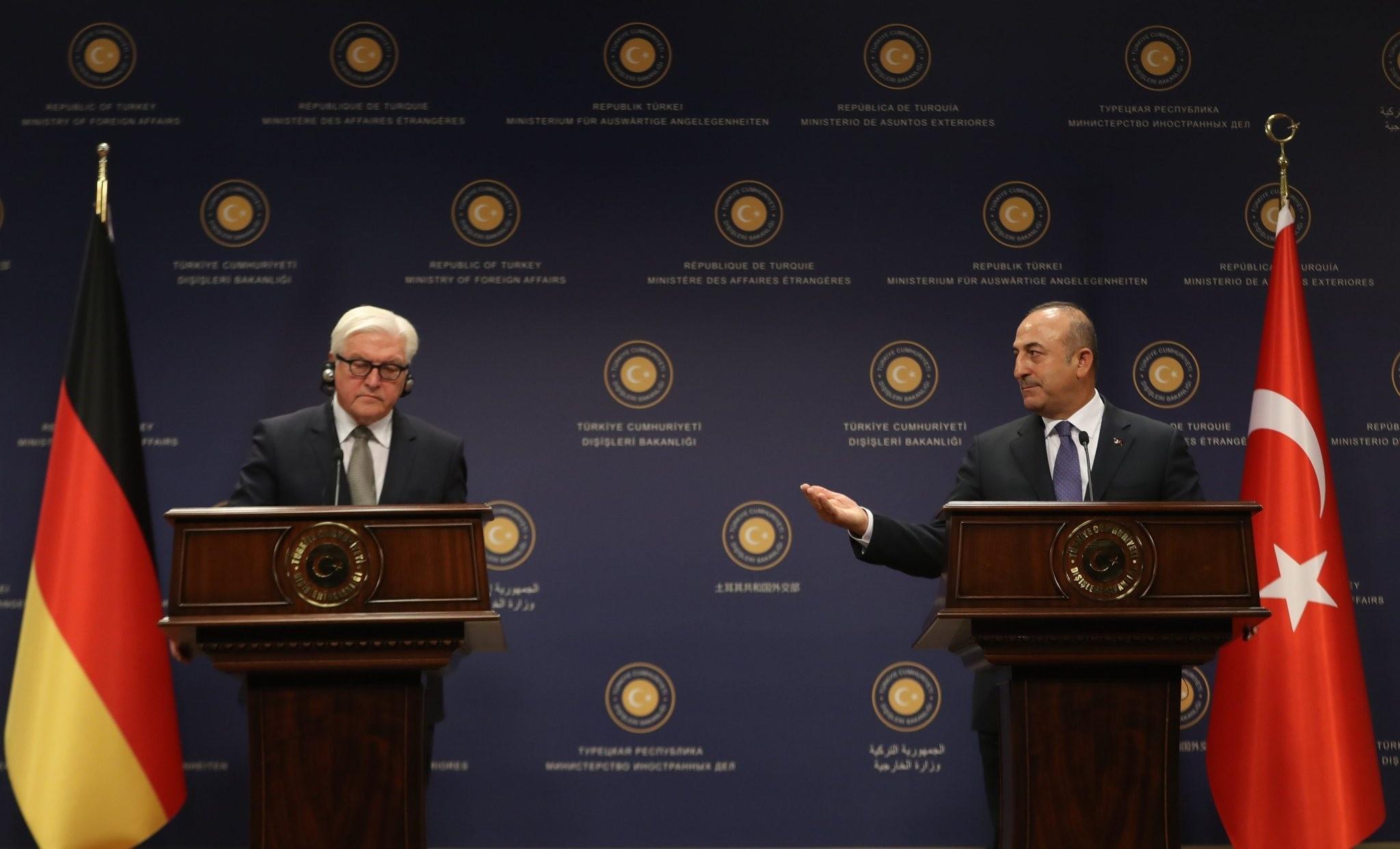 German FM Steinmeier and u00c7avuu015fou011flu held a press conference on November 11, 2016. (AA Photo)