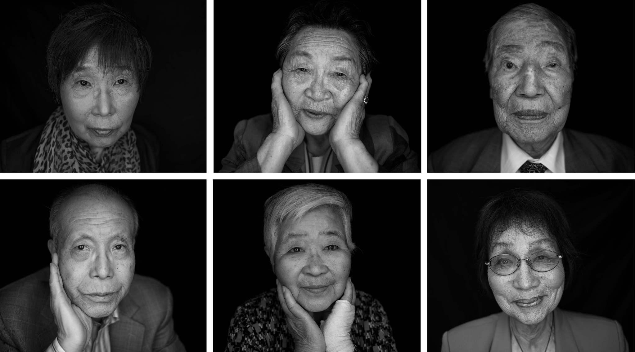 Survivors of the 1945 atomic bombing of Hiroshima, (top L to R) Keiko Ogura, Park Nam-Joo, Sunao Tsuboi, and (bottom row L to R) Shigeaki Mori, Misako Katani and Emiko Okada in Hiroshima. (AFP Photo)