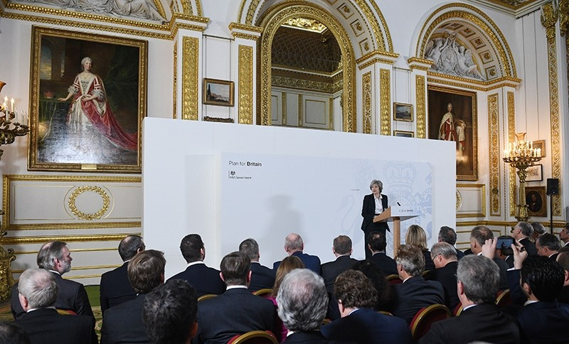 Britain's Prime Minister Theresa May (C) delivers her keynote 'Brexit speech' at Lancaster House in London, Britain 17 January 2017. (EPA Photo)