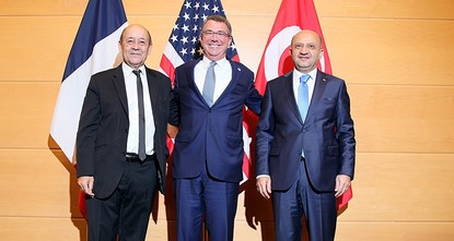 pDefense ministers from Turkey, the U.S. and France on Wednesday held a trilateral meeting discussing the issue of Daesh terrorist organization./p