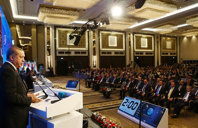 President Recep Tayyip Erdou011fan addressing the  62nd session of NATO Parliamentary Assembly in Istanbul, November 21, 2016 (IHA Photo)