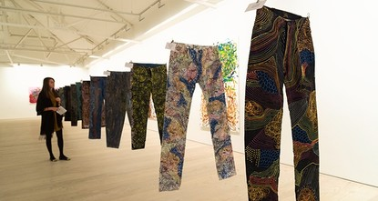 pColourful jeans hand painted by the artist Johny Dar are among 100 pairs put up for auction by celebrities including British model Kate Moss and American actress Sharon Stone in order to raise...