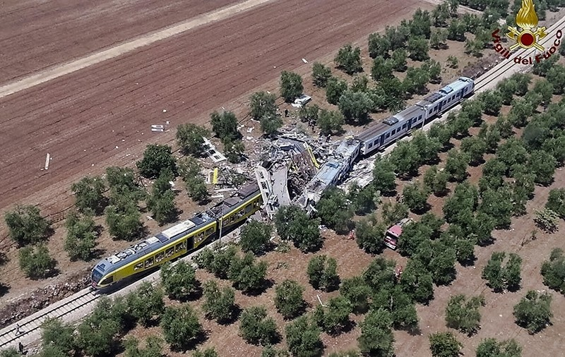 Au00e7u0131klama This aerial handout photo shows what is left of two commuters trains after their head-on collision in the southern region of Puglia, Tuesday, July 12, 2016 (AP Photo)