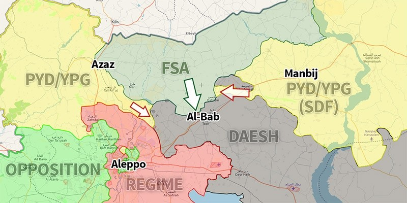 Northern Syria on Nov. 17, 2016 as the PYD/YPG starts an offensive. (Source: Syria.liveuamap.com)