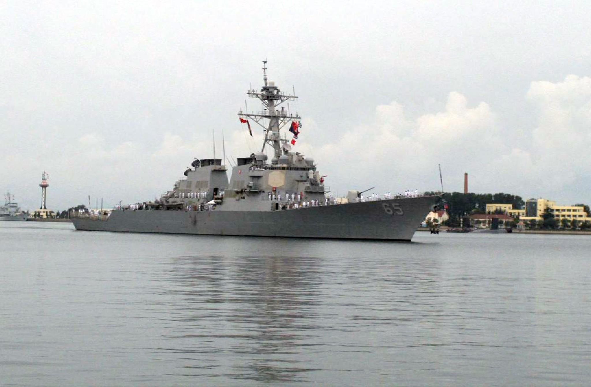 A US warship, USS Benfold (AP Photo)