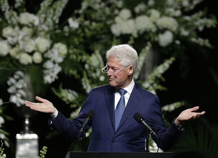 Former President Bill Clinton delivers a eulogy during Muhammad Ali's memorial service, Friday, June 10, 2016, in Louisville, Ky. (AP Photo)