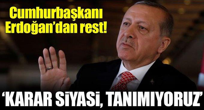 Erdoğan: Karar siyasi kabul etmiyoruz