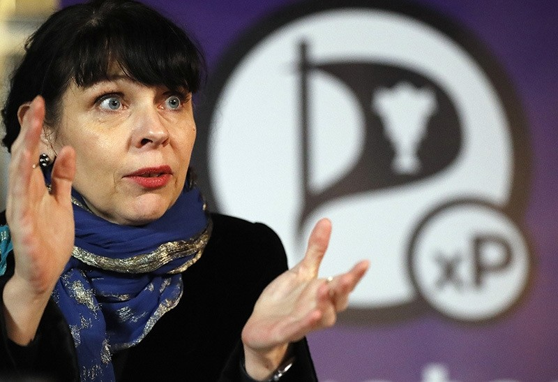 In this Sunday, Oct. 30, 2016 file photo, Birgitta Jonsdottir of the Pirater (Pirate) Party addresses the media during a conference in Reykjavik, Iceland (AP Photo)