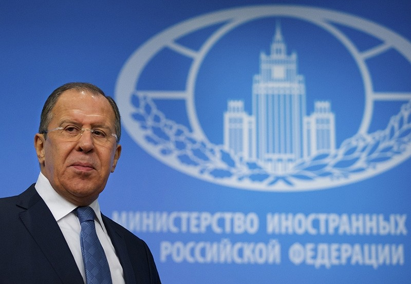 Russian Foreign Minister Sergey Lavrov arrives for his news conference in Moscow, Russia, on Tuesday, Jan. 17, 2017. (AP Photo)