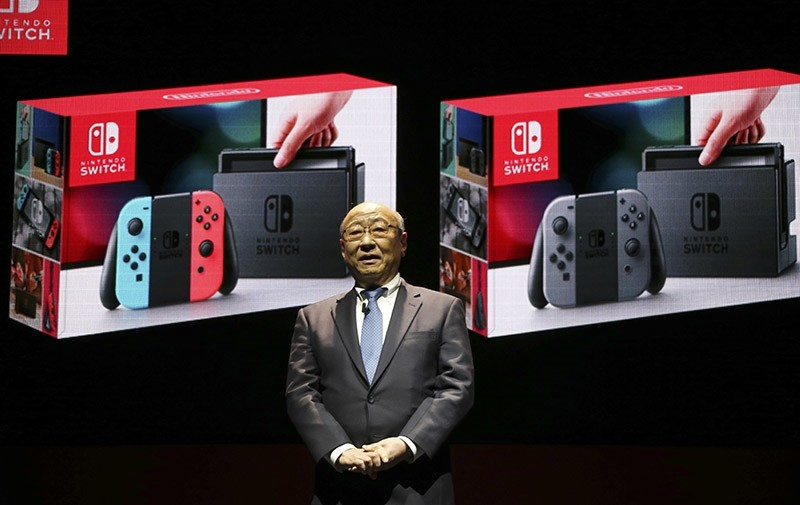 President of Nintendo Tatsumi Kimishima speaks during a presentation event of the new Nintendo Switch in Tokyo, Friday, Jan. 13, 2017. (AP Photo)