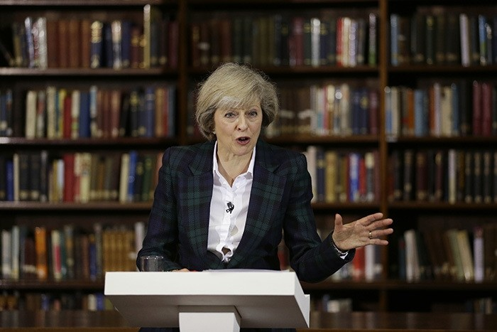 Britain's Home Secretary Theresa May launches her leadership bid for Britain's ruling Conservative Party in London, Thursday, June 30, 2016. (AP Photo)