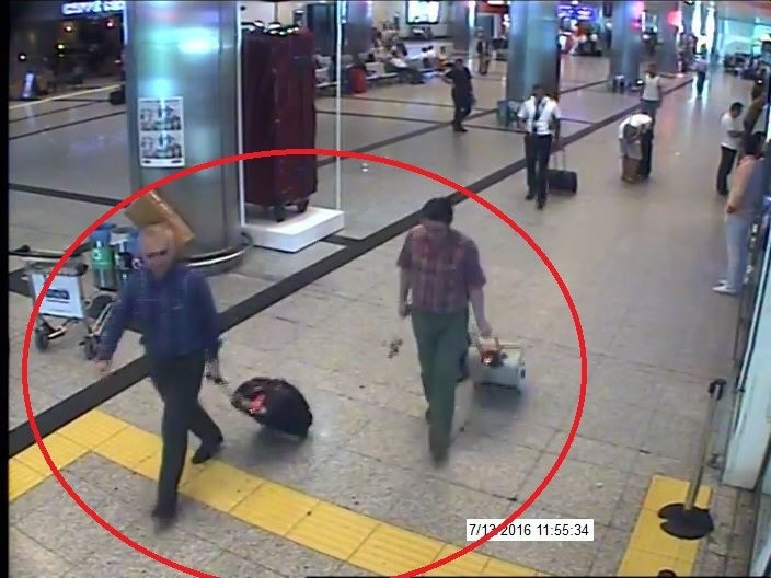 Adil u00d6ksu00fcz and Kemal Batmaz seen in footage captured by security cameras at Istanbul Atatu00fcrk Airport on July 13, 2016