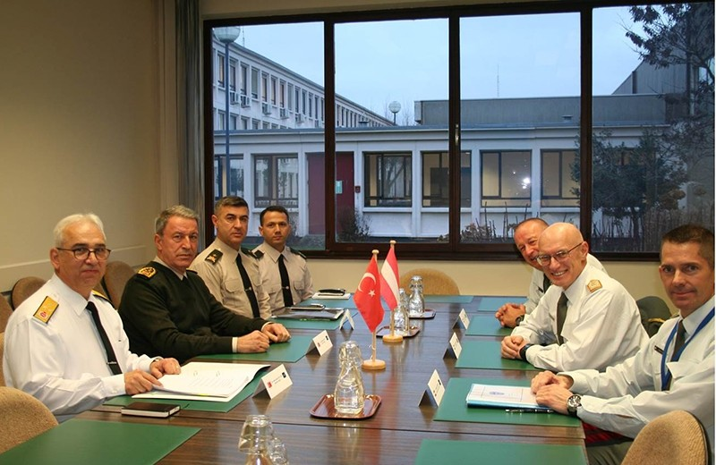 Chief of Staff Hulusi Akar (Second left) holding meeting with Austrian counterpart on the sidelines of a NATO conference in Brussels on Tuesday Jan. 17 (DHA Photo)