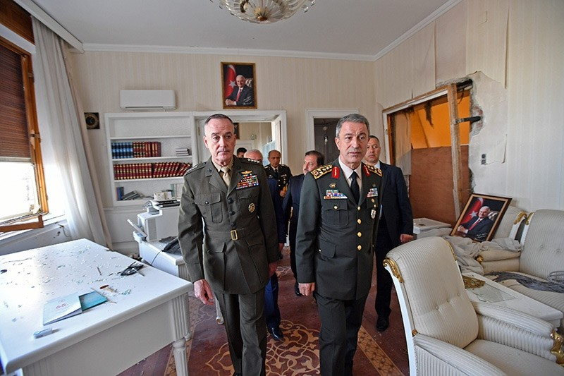 Dunford, along with his Turkish counterpart Akar, visit the damaged sections of Turkish Parliament bombed during the July 15 coup attempt, on Aug. 03 in Ankara. (AP Photo)