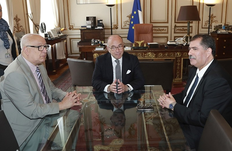 France's Minister of the Interior Bernard Cazeneuve (C) meets with Vice President of the French Muslim council CFCM Abdallah Zekri (L) and CFCM Head Anouar Kbibech (R) at the Ministry of the Interior on August 1, 2016  (AFP Photo)