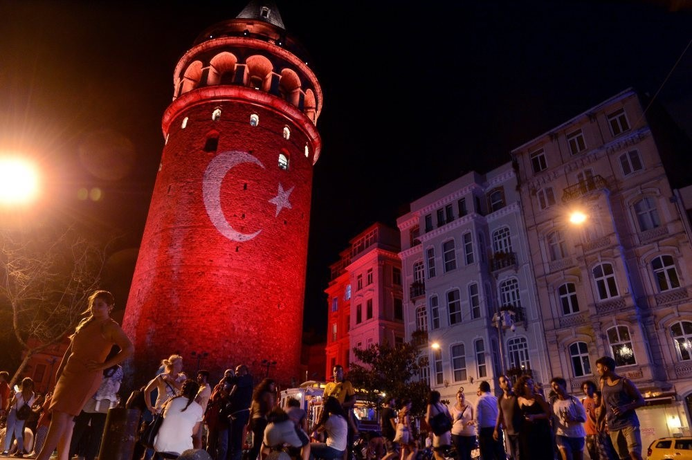 The monumental Galata Tower in Istanbulu2019s Galata neighborhood, a popular expat locations, lit up with the colors of the Turkish flag to protest the coup attempt.