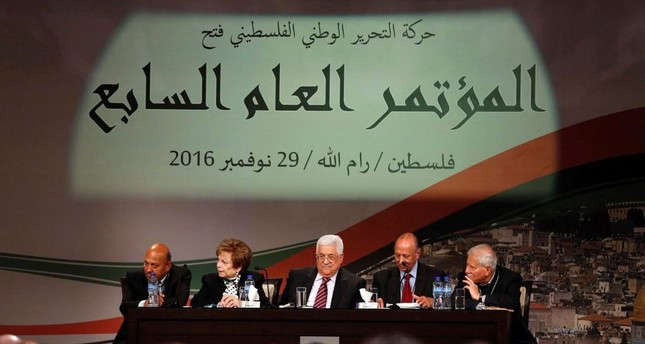 Palestinian president Mahmud Abbas looks on during the opening ceremony of the 7th Fatah Congress on Nov. 29 at the Muqataa, the Palestinian Authority headquarters, in the West Bank city of Ramallah.