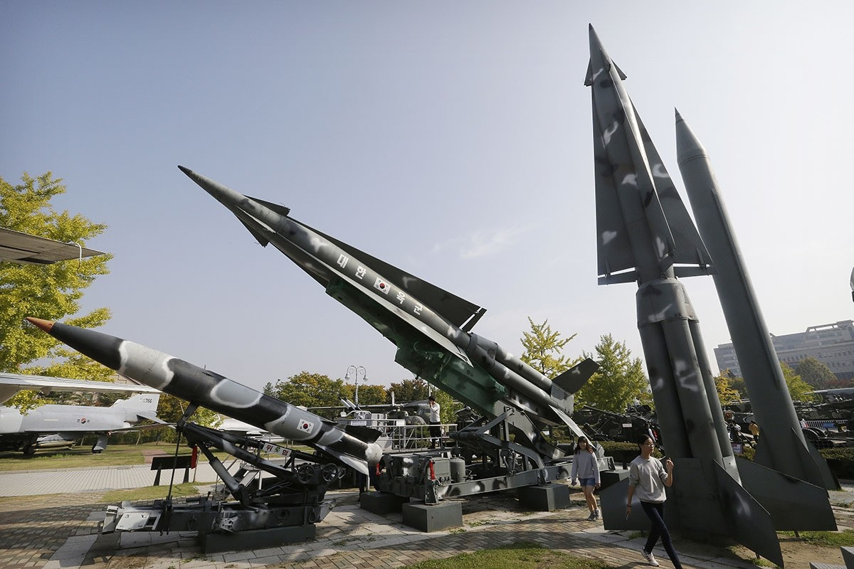 A mock North Korea's Scud-B missile, right, and South Korean missiles are displayed at Korea War Memorial Museum in Seoul. (AP Photo)