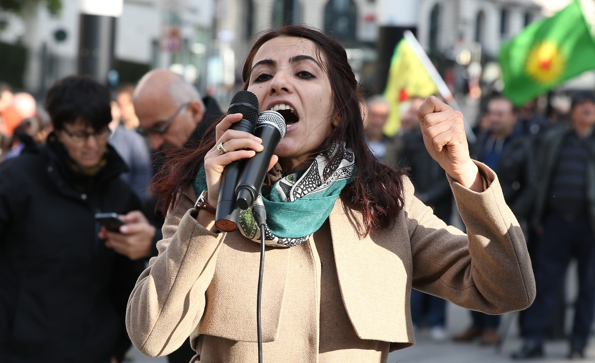 HDPu2019s Van Deputy Tuu011fba Hezer u00d6ztu00fcrk speaks at a pro-PKK protest in Belgiumu2019s capital Brussels on Saturday, November 5, 2016. (AA Photo)