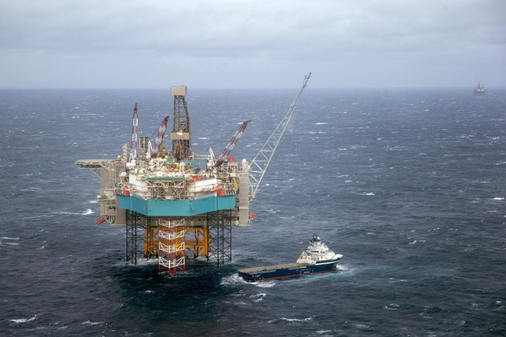 A supply ship at the Edvard Grieg oil field, in the North Sea.