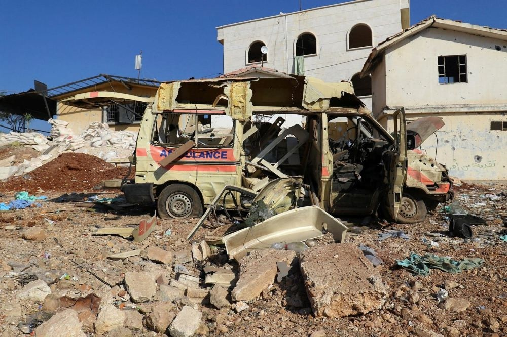 A destroyed ambulance is pictured after an airstrike on the opposition-held town of Atareb, in the countryside west of Aleppo, Syria Nov. 15.