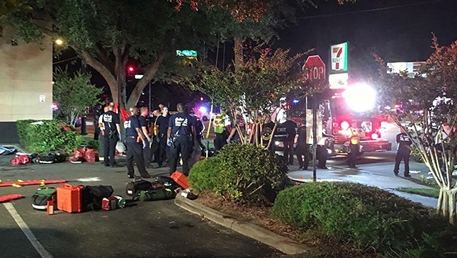 A handout photograph made available by Univision Florida Central showing a view of the general scene of a shooting at Pulse Nightclub in Orlando, Florida, USA, 12 June 2016. (Via EPA)