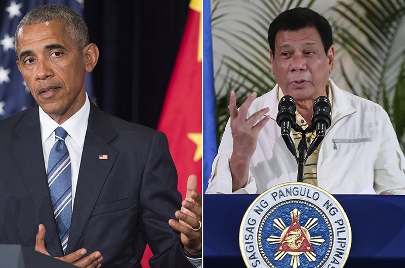 This combination image of 2 photographs taken on September 5, 2016 shows, at left, US President Obama, and at right, Philippine President Duterte (AFP Photo)