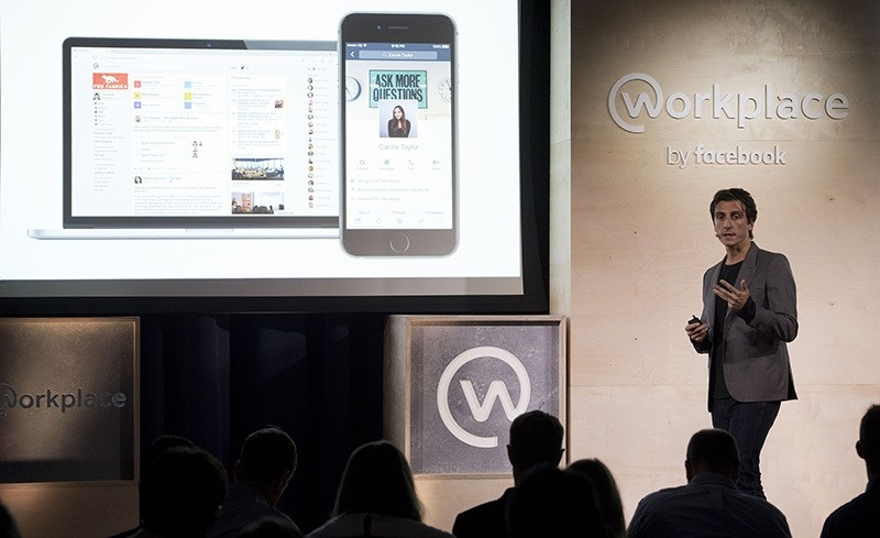 Julien Codorniou, Director of Facebook at Work, speaks during an event to launch the social media company's latest product u201cWorkplace,, central London on Oct. 10, 2016. (AFP Photo)