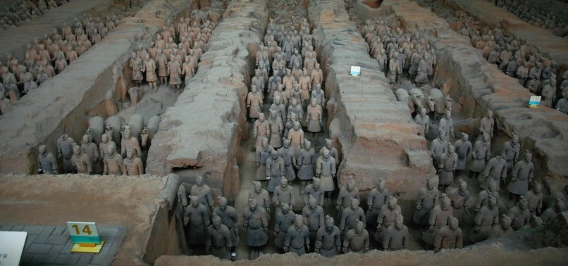 1ST-CENTURY BC PAINTED TERRACOTTA FIGURES FOUND IN CHINA