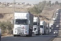 وصلت قافلة مساعدات مؤلفة من 108 شاحنات إلى محافظة أربيل (شمالي العراق)، أرسلتها إدارة الكوارث والطوارئ التركية