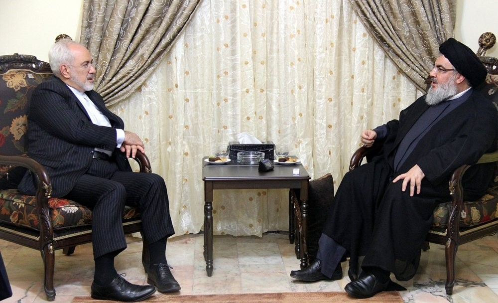 Hezbollah leader Hassan Nasrallah (R) meeting with the Iranian Foreign Minister, Mohammad Javad Zarif (L), in Beirut, Lebanon, Aug. 12, 2015.