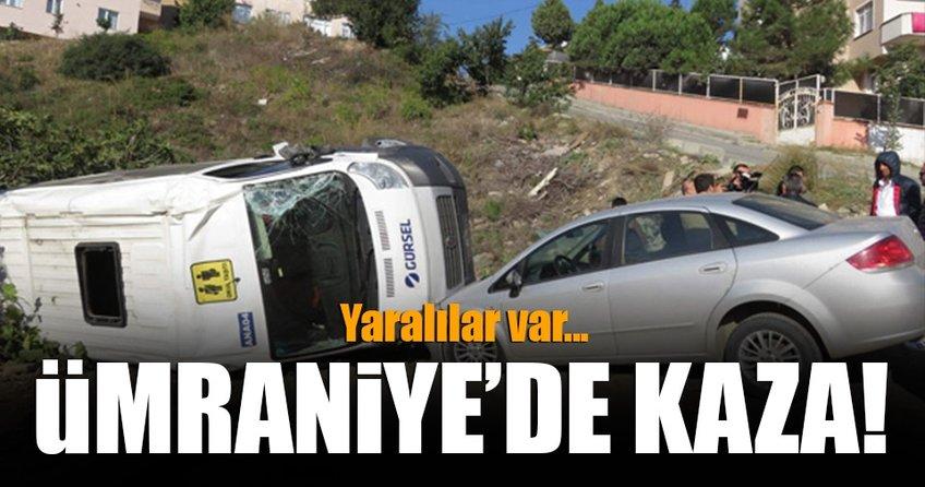 Ümraniye'de okul servisi kaza yaptı! Yaralılar var...