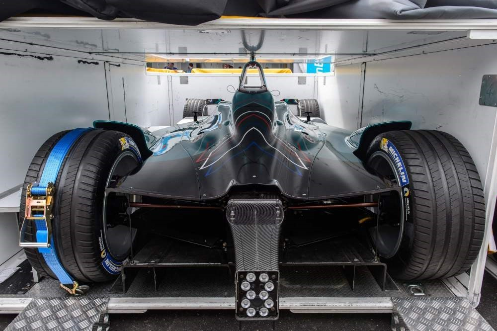 A NextEV car is seen in a transport container in the pit lane of the Formula Etrack in Hong Kong.