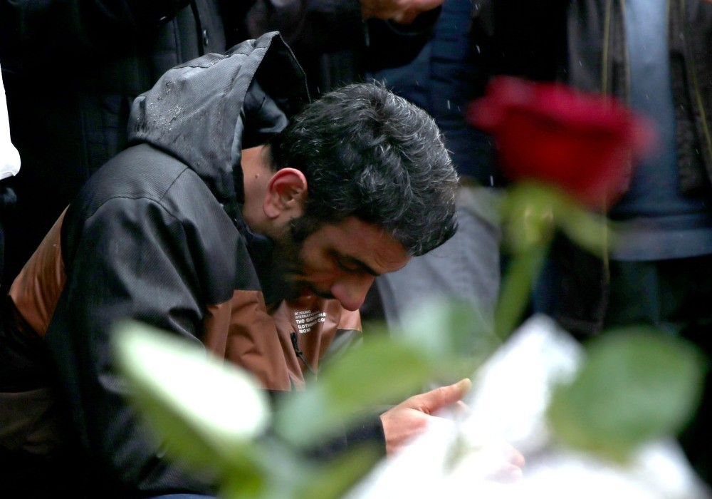 A man praying for the victims of the Istanbul terror attack that happened on Dec. 10.