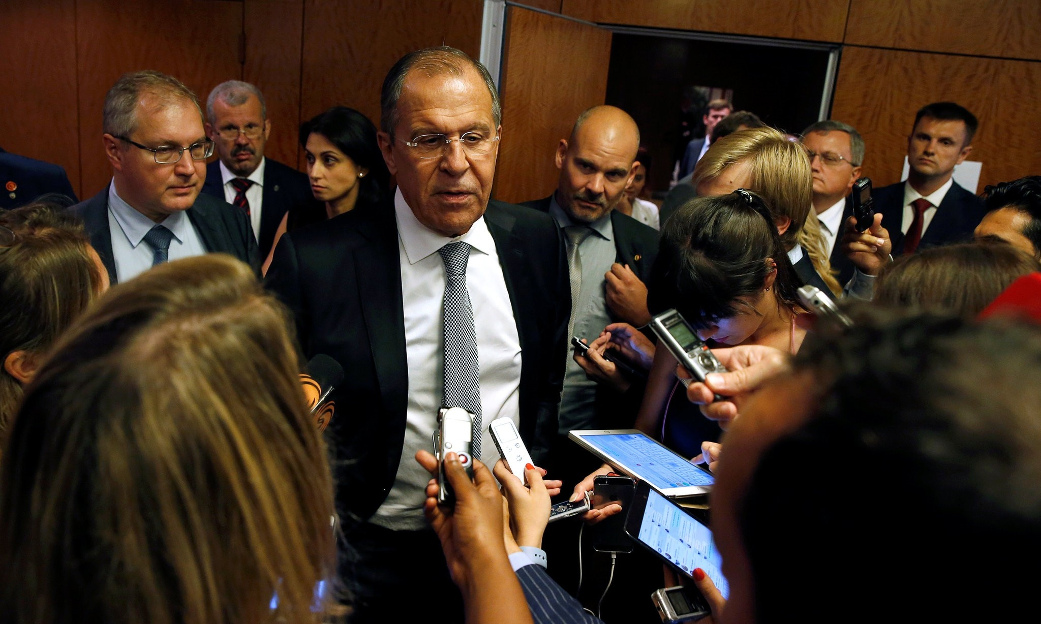 Russian Foreign Minister Sergei Lavrov speaks to reporters during a break in his meeting with U.S. Secretary of State John Kerry in Geneva, Switzerland . (Reuters Photo)