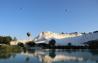 Colorful hot air balloons up in Pamukkale skies after months