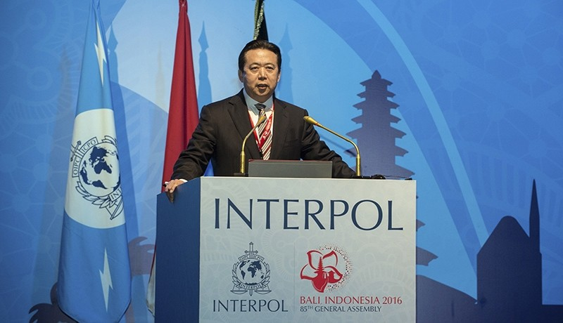 In this photo released by Xinhua News Agency, China's Vice Minister of Public Security Meng Hongwei delivers a campaign speech at the 85th session of the general assembly of the Interpol (AP Photo)