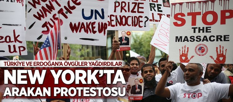 New York'ta Arakan protestosu