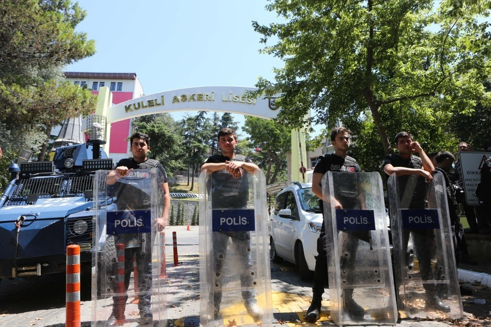 Police officers on duty in front of Kuleli Mlilitary High School on July 16 after the failed coup attempt.